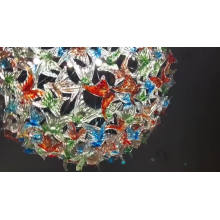 Customized exhibition hall art crystal string pendant lamp