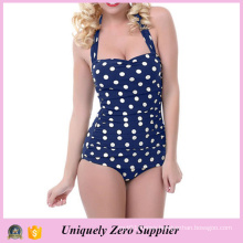 2016 Women Slim Skinny Polka Dots Print One Piece Swimsuit