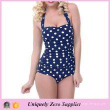 2016 mulheres slim Skinny Polka Dots Imprimir One Piece Swimsuit