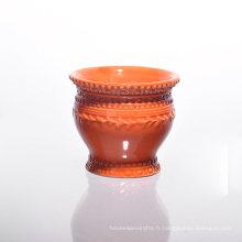 Porte-bougies en céramique orange