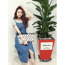 Strap Leisure Long Designer Denim Dress for Women (FA029)