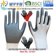 13Г полиэстер Shell перчатки Покрынные Нитрилом (N1501) гладкая поверхность с CE, ладони en388, En420, рабочие перчатки