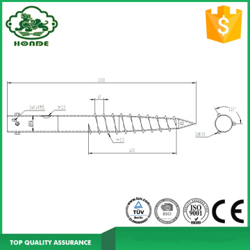 Galvanized Ground Screw Anchor N76 * 1000mm