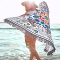 Colorful Feature Wildflowers Round Beach Towel With Tassel
