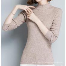 PK18ST091 Frauen Falbala Kragen Langarm Casual T-Shirt Pullover