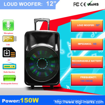 Professional 15 Inches Plastic Outdoor PA Speaker with Bluetooth Function