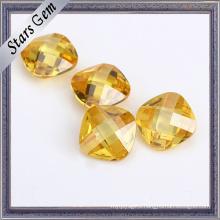Hot Sale Popular Golden Color Cushion Cut Gemstone