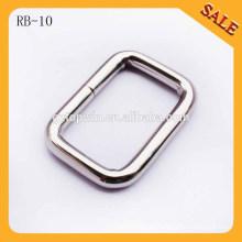 RB10 Venda al por mayor la hebilla de la correa del anillo cuadrado del hierro del alambre de metal para los bolsos