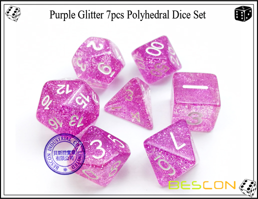 Assorted Colored Glitter 7pcs Polyhedral Dice Set-18