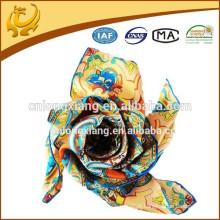 Quente e alta qualidade impressa digital de cor de luz lenço de sarja de seda