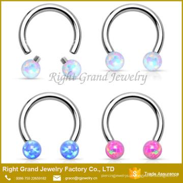 Chirurgenstahl intern Gewinde Opal Kugeln Circular Barbell Horseshoe Nase Septum Ring