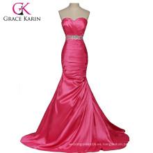 Grace Karin rojo y plata de color largos sirena vestidos de baile sin tirantes vestidos de novia CL2289-1