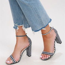 hot sale girls shoes with cute black and white gingham fabric adjustable ankle strap heels