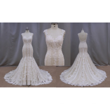 Tomada de fábrica Champagne Lace Applique Wedding Dress