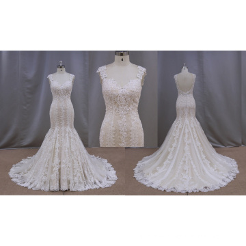 Factory Outlet Champagne Lace Applique Wedding Dress