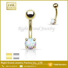 Anel ajustado do umbigo do Opal do dente de aço inoxidável do ouro 14K contínuo