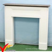 Blanco estilo francés Chic lamentable envejecido madera decorativa chimenea
