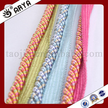 Cuerda decorativa de tres tipos coloridos con la cuerda para la decoración del sofá o el accesorio de la decoración casera, cuerda decorativa, 6m m