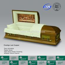 LUXES última ceia estilo caixões de madeira para Funeral americano caixões
