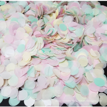 Rainbow color throwing and table confetti