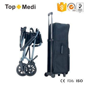Silla de ruedas de viaje portátil liviana de aluminio con bolsa de transporte