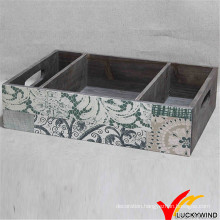 Luckywind Painted Pattern Wooden Tray with Handles