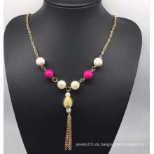 Bunte Perlen Perlen Pullover Halskette (XJW13761)