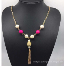 Grânulos coloridos pérola colar camisola (xjw13761)