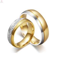 Anneaux faits sur commande de mariage d'or de diamant de style occidental de tungstène, bijoux de bagues de cristal de mode