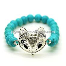 Türkis 8MM runde Perlen Stretch Edelstein Armband mit Diamante Legierung Fuchs Kopf Stück