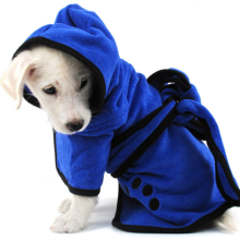 Blue Big Microfiber Absorbent Dog Bathrobe