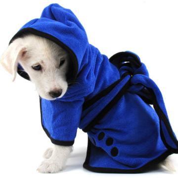 Blue Big Microfiber Absorbent Dog Bathrobe