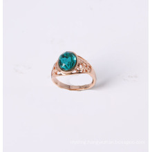 Simple Style Ring with One Blue Glass Stone Rose Gold Plated