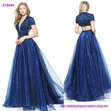 Mangas cortas de organza vestido de baile con un vestido de fiesta de corona de cuentas rebordeado