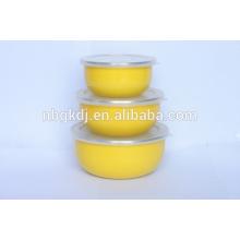 enamel colorful bowl with PE lids