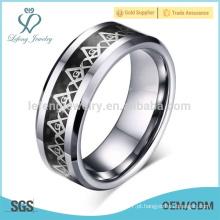 Anéis clássicos do símbolo do masonic do vintage para homens, anéis do tungstênio dos homens retros