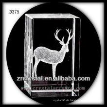 K9 3D Laserkristallblock mit Cervus Nippon