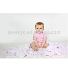2 Count 100% Organic Cotton Muslin Baby Towel/Swaddle Blanket,Pink Aztec Pattern,used for Sleeping/Cuddling/Play Time