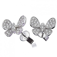 High Quality CZ Butterfly Pave 925 Silver Stud Earings Jewelry