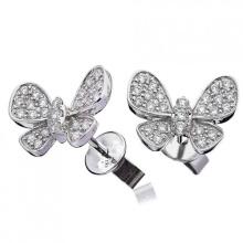 Borboleta CZ de alta qualidade pavimenta 925 brincos de prata Stud Earrings