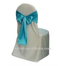 capas de cadeira luxuriante de cetim com faixa de cetim para o banquete de casamento