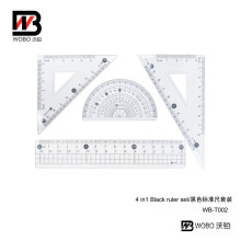 Black Standarded 4 In1 Plastic Ruler Office Stationery Set