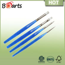 acrylic flat paint brushes with blue shining acrylic handle in different size