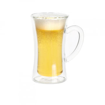 Double Wall Custom Glass Mug For White Tea