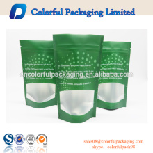Customized reusable stand up bag matte pouch transparent packaging bag