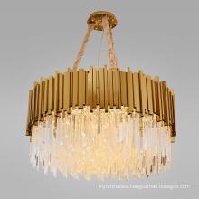 Postmodern luxury led ceiling lights k9 crystal gold chandelier lighting fixtures for dining room