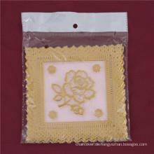 12,5 * 12,5 cm Rosa Spitze Gold PVC Tischset Beliebte Verwendung Zuhause / Kaffee