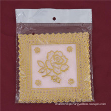 12.5 * 12.5 cm Rosa De Renda De Ouro PVC Tablemat Uso Popular Casa / Café