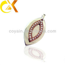 china alibaba Stainless Steel Jewelry men's pendant, custom leaf shaped rhinestone pendant