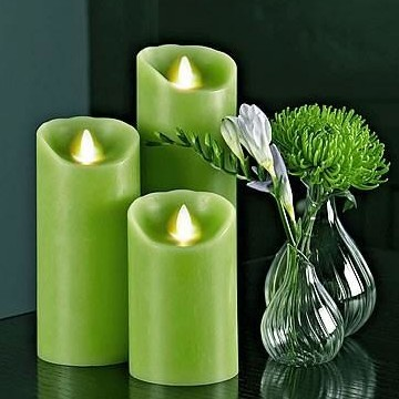 Ivory Wax Moving Wick luminara flameless classic pillar Candle